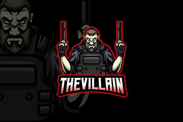Die bösewicht-esport-logo-vorlage