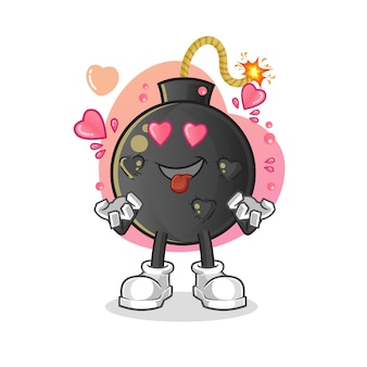 Die bombe verliebt sich. karikatur