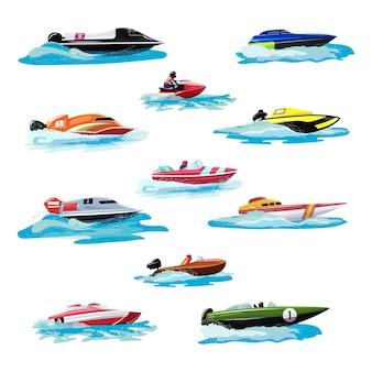 Die bootsvektorgeschwindigkeits-motorbootyacht, die in see-satz der ozeanillustration sommerferien auf motorisiertem bootsschnellboot-schiffstransport durch meereswellen reist, lokalisierte ikonensatz