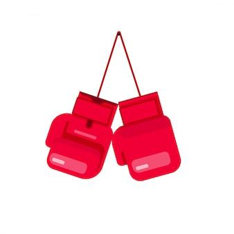 Die boxhandschuhe, die an der seilvektorillustration hängen, lokalisierten flache karikatur