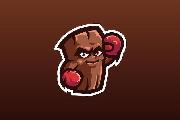 Die boxing log-maskottchen-vorlage