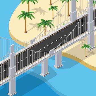 Die brücke der städtischen infrastruktur ist isometrisch für spiele, anwendungen von inspiration und kreativität. stadtverkehrsorganisationsobjekte in 3d-dimensionaler form
