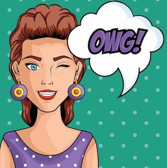 Die brunettefrau komisch mögen pop-arten-ikone mit ugg unterzeichnen vorbei knickente punktierte hintergrundvektorillustration