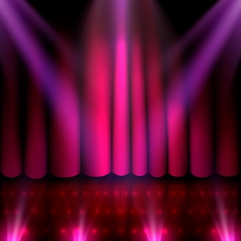 Die bühne der show und die show mit heller beleuchtung. vektor-illustration