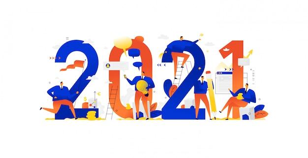 Die büromitarbeiter bereiten sich auf das neue jahr 2021 vor.
