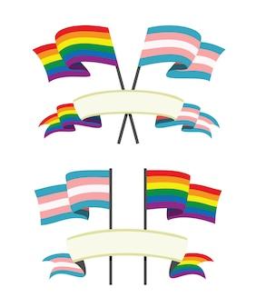 Die bunten flaggen und bänder für die lgbt- und trangender-leute
