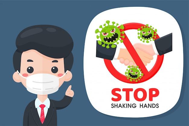 Die comic-geschäftsleute stoppten die kampagne zum händeschütteln, um den ausbruch des corona-virus zu verhindern.