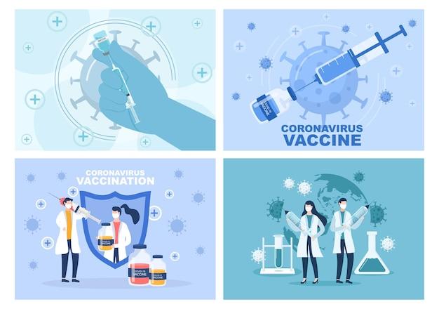 Die coronavirus-impfung mit spritzeninjektionswerkzeug und medizin hilft bei der bereitstellung von covid-19-impfstoffen zum selbstschutz oder zur erhaltung der gesundheit. vektorillustration