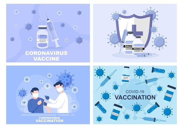 Die coronavirus-impfung mit spritzeninjektionswerkzeug und medizin hilft bei der bereitstellung von covid-19-impfstoffen zum selbstschutz oder zur erhaltung der gesundheit. vektorillustration Premium Vektoren