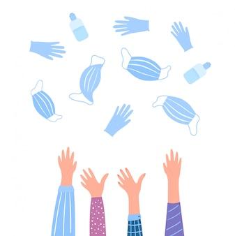 Die coronovirus-quarantäne ist beendet. pandevic ende. covid-2019. die hände werfen medizinische schutzmasken, handschuhe und flaschen mit einem desinfektionsmittel hoch.