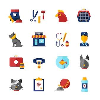 Die dekorativen ikonen des tierarztes, die mit haustiertierkragen des haustiertiershops eingestellt wurden und tierfutter lokalisierten vektorillustration