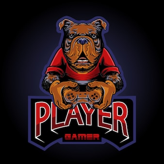 Die dog gamer logo illustration
