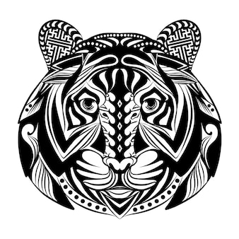 Die doodle-kunst des zentangle-tigers voller ornamente für die tattoo-inspiration