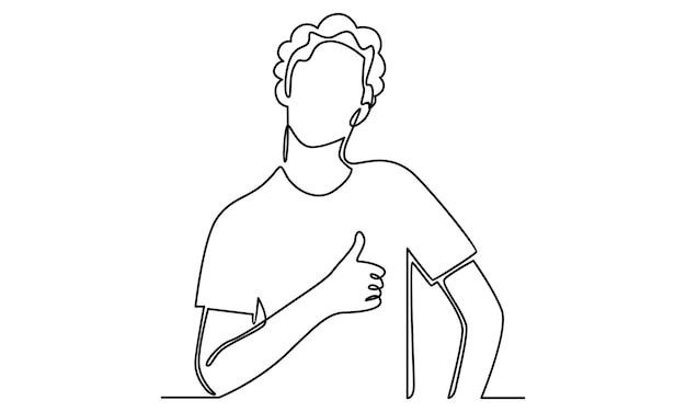 Die durchgehende linie des mannes zeigt die abbildung mit dem daumen nach oben