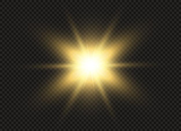Die durchsichtige strahlende sonne, heller blitz. star. funkelnde magische staubpartikel. heller stern.
