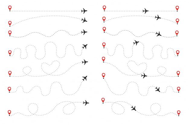 Die ebene folgt der gepunkteten linie. flüge vom ursprung zum ziel auf der weltkarte.