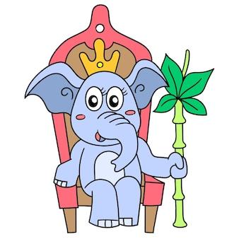 Die elefantenkönigin sitzt auf einem thronstuhl, doodle-symbolbild. cartoon charakter süßes gekritzel zeichnen