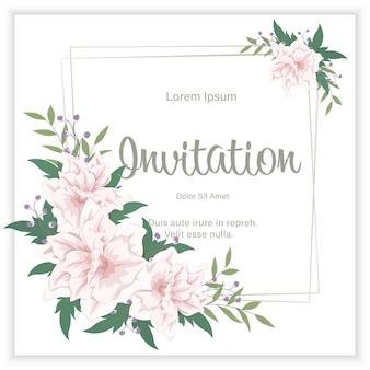 Die elegante blumenhochzeitseinladung laden kartendesign ein. rahmen mit blüten und blättern