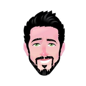 Die emotion eines jungen mannes. cartoon zufrieden bärtiger mann. illustration eines kopfes für werbung und chat. selbstbewusster mann avatar. das bild ist auf einem weißen hintergrund isoliert. Premium Vektoren