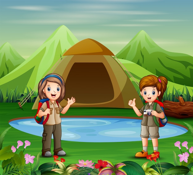 Die entdeckerinnen auf dem campingplatz