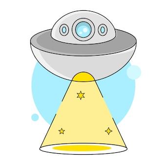 Die entführung der space bowl illustration geeignet für grußkarten, poster oder t-shirt-druck.