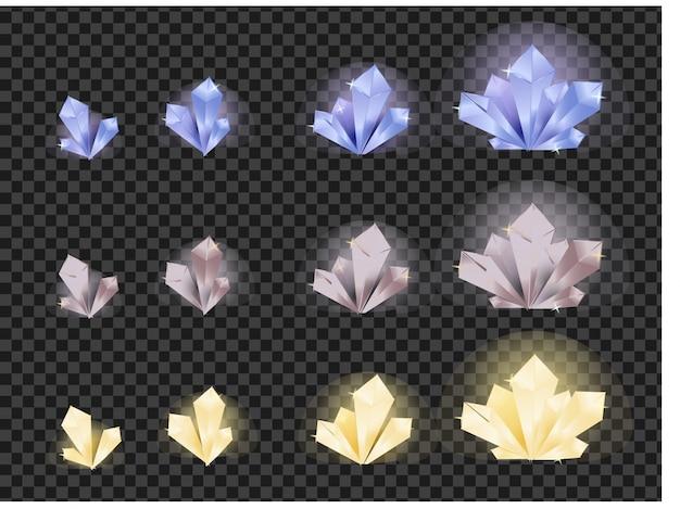 Die entwicklung der kristalle von klein bis groß