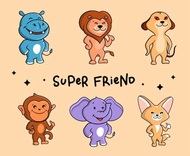 Die entzückende gruppe von tieren. sechs safari-comicfiguren.