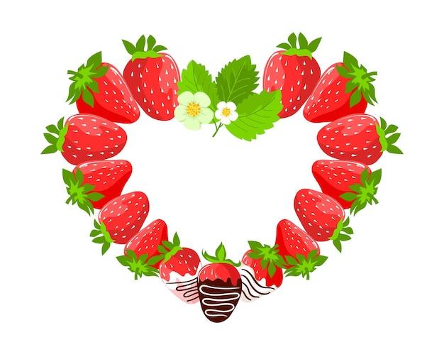 Die erdbeeren sind saftig, die beeren sind herzförmig ausgelegt.