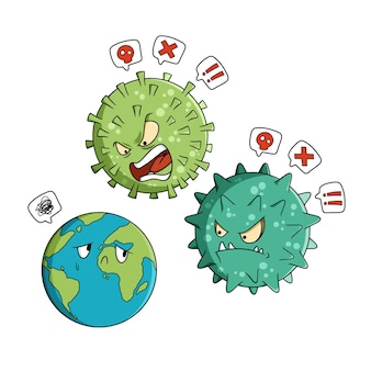 Die erde wird vom coronavirus gemobbt