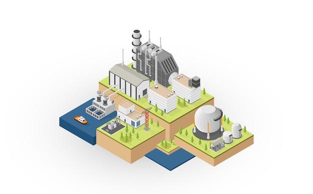 Die erdgasenergie, erdgaskraftwerk mit isometrischer grafik