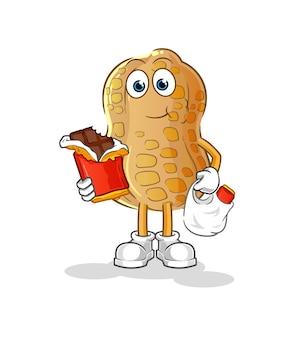 Die erdnüsse essen schokoladenmaskottchen. karikatur