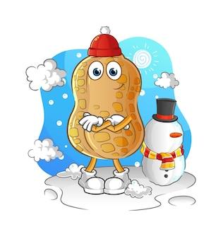Die erdnuss im kalten wintercharakter. cartoon maskottchen