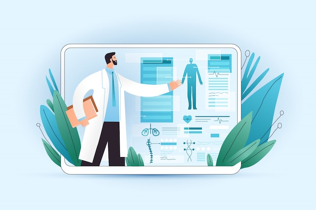Die ergebnisse des medizinischen ganzkörper-screenings auf tabletten und gesundheitsgeräten werden von einem professionellen arzt erklärt. professioneller medizinischer test für patienten unter verwendung von medizinischen apps auf einem digitalen tablet, konzept