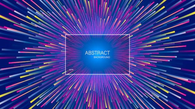 Die explosion dynamischer linien oder strahlen. abstrakter geometrischer hintergrund mit zentrischer bewegung.