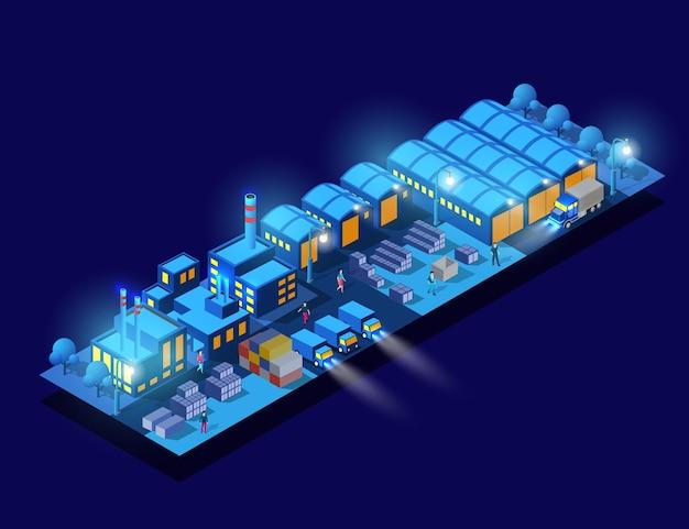 Die fabriken, lager industrie nacht, neon, illustration