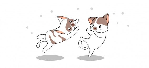 Die fahne, die entzückende katzen grüßt, springen, um mit liebe zu umarmen