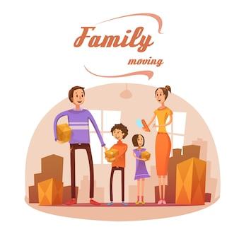 Die familie, die in karikaturkonzept mit raumliste und kästen sich bewegt, vector illustration