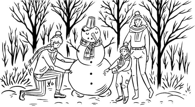 Die familie macht zu weihnachten einen schneemann.