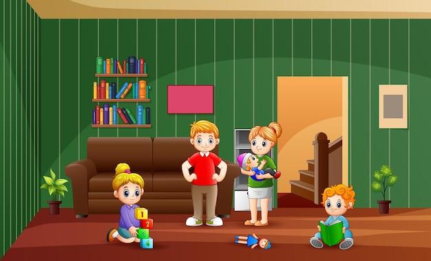 Die familie verbringt zeit zu hause