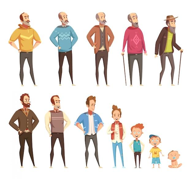 Die farbigen ikonen der männergenerationsebene, die vom unterschiedlichen alter von baby zu senioren eingestellt wurden, lokalisierten karikaturvektorillustration