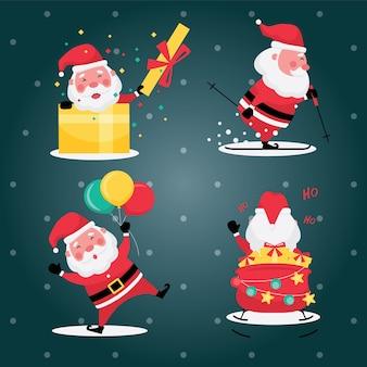 Die festliche sammlung von weihnachten und neujahr kennzeichnet bildsatz des weihnachtsmannes mit geschenk und ballon auf hellblauem hintergrund