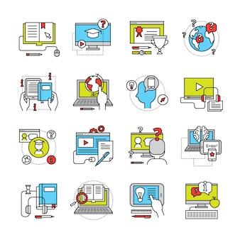Die flache ikone, die auf themaonline-bildung mit laptopmonitortelefon und auflagenkommunikation eingestellt wurde, lokalisierte vektorillustration