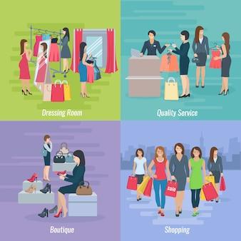 Die flache zusammensetzung, die das fraueneinkaufen in der butike oder im mall darstellt, vector illustration