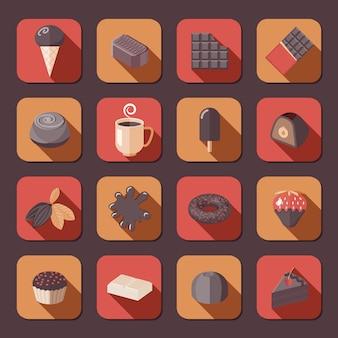 Die flachen eingestellten ikonen des dunklen kakaofondues des köstlichen kuchens der schokolade lokalisierten vektorillustration.