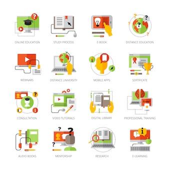 Die flachen farbpiktogramme der on-line-bildung, die auf thematische audiobücher eingestellt wurden, die bewegliche apps mentorship-berufsausbildung und webinars lokalisierten vektorillustration