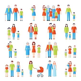 Die flachen ikonen der drei generationen der familie, die mit vatermuttergroßeltern und abstraktem vektor der kinder eingestellt wurden, lokalisierten illustration