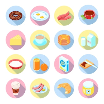 Die flachen ikonen des frühstückslebensmittels und der getränke, die mit teesaftkaffeebreispeck in den kreisen eingestellt wurden, lokalisierten vektorillustration