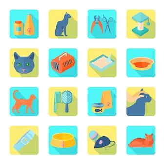 Die flachen ikonen des innenkatzensorgfaltzubehörs, die mit gesundem tierarzt eingestellt wurden, genehmigten lebensmittelzusammenfassungsschatten lokalisierte vektorillustration