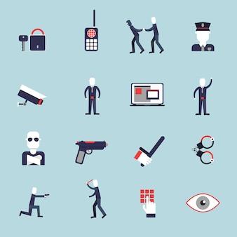 Die flachen ikonen des sicherheitsbeamten, die mit dem überwachungskamerahandschellenschutz eingestellt wurden, lokalisierten vektorillustration