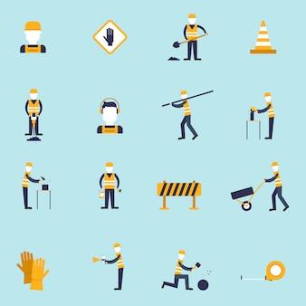 Die flachen ikonen des straßenarbeiters, die mit schaufelkegelhammer eingestellt wurden, lokalisierten vektorillustration